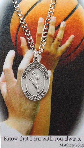 Boys St. Christopher Basketball Medal with Prayer Card - Silver tone