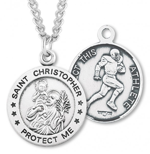 Men's Sterling Silver Round Saint Christopher Football Medal - Silver