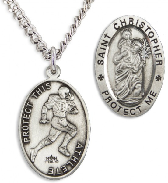 Men's Sterling Silver Saint Christopher Football Medal - Silver