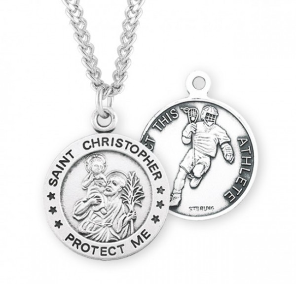 Boy's St. Christopher Lacrosse Medal Sterling Silver - Sterling Silver