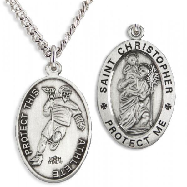 Men S St Christopher Lacrosse Necklace Sterling Silver
