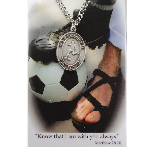 Boy's St. Christopher Soccer Medal 24 Inch Chain Prayer Card - Silver tone