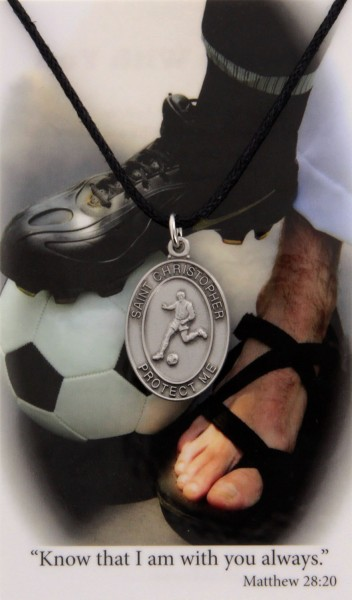 Boy's St. Christopher Soccer Medal Leather Chain Prayer Card - Silver tone