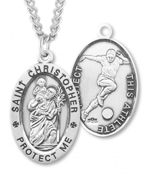 Boy's St. Christopher Soccer Medal Sterling Silver - Silver