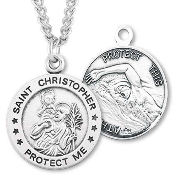 Boy's St. Christopher Swimming Medal Sterling Silver - Silver