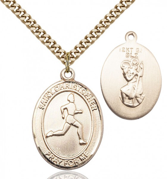 Men's St. Christopher Track and Field Medal - 14KT Gold Filled