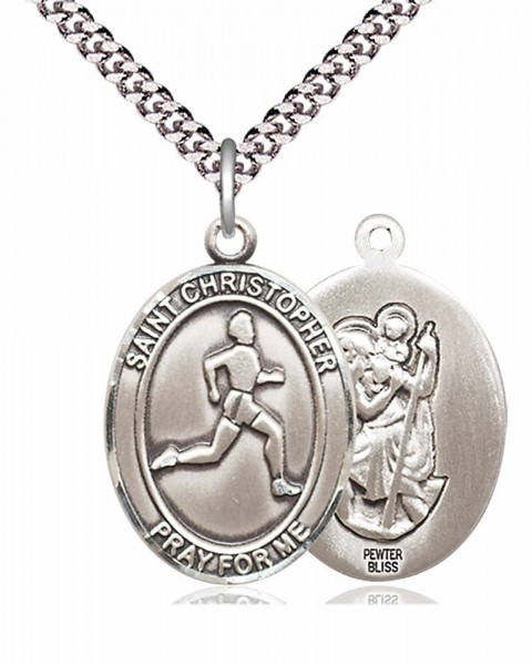 Men's St. Christopher Track and Field Medal - Pewter
