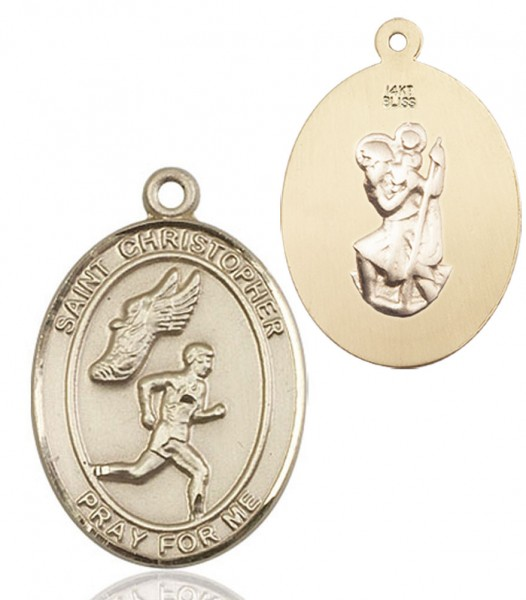 Boy's St. Christopher Track and Field Medal - 14K Yellow Gold