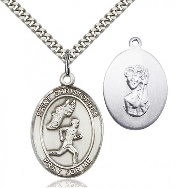 Men's St. Christopher Track and Field Medal - Sterling Silver