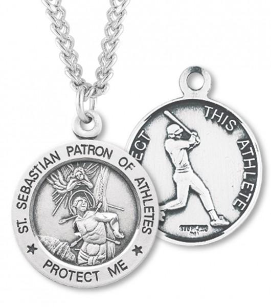 Mens sterling silver round saint sebastian baseball medal mens sterling silver round saint sebastian baseball medal silver aloadofball Images
