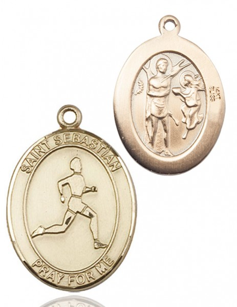 Boy's St. Sebastian Track and Field Medal - 14K Yellow Gold