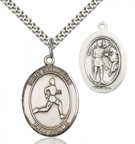 Boy's St. Sebastian Track and Field Medal - Sterling Silver