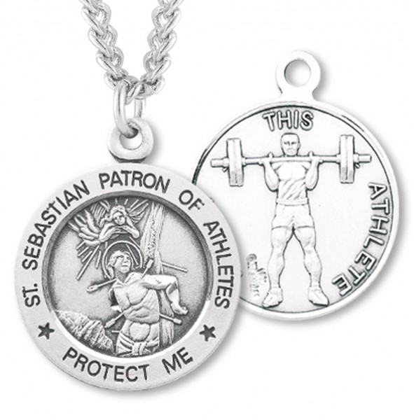 Men's Sterling Silver Round Saint Sebastian Weightlifting Medal - Sterling Silver