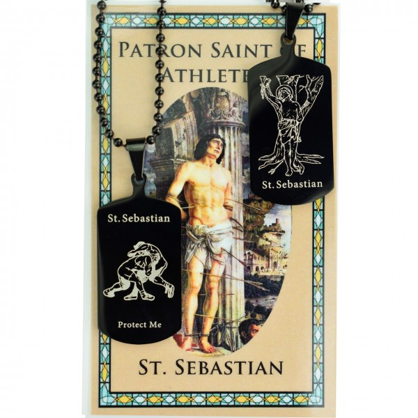 Boy's St. Sebastian Wrestling Dog Tag Necklace and Prayer Card - Black