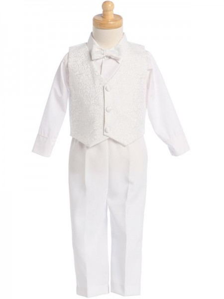 Boy's White 4-Piece Embroidered Jacquard Vest Set - White