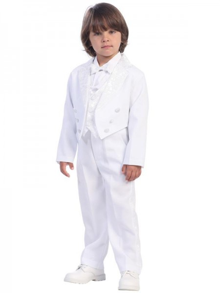 Boy's White Round Tail Tuxedo with Vest and Bowtie - White