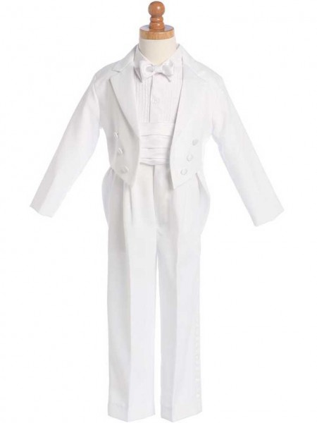 Boy's White Split Round Tail Tuxedo With Cummerbund And Bowtie - White