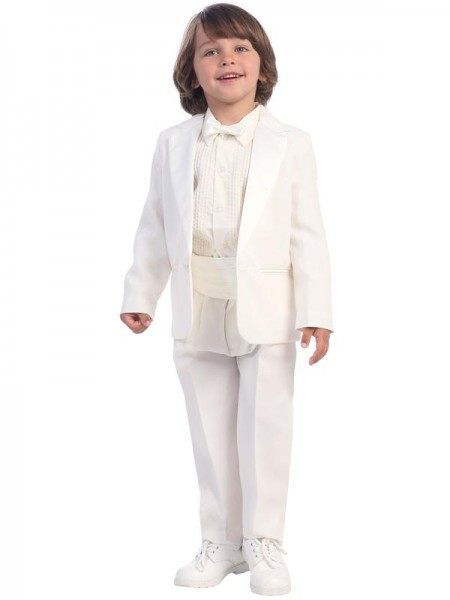 Boy's White Tuxedo With Cummerbund And Bowtie - White