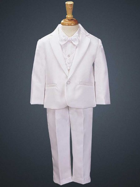 Boy's White Tuxedo with Vest and Bowtie - White