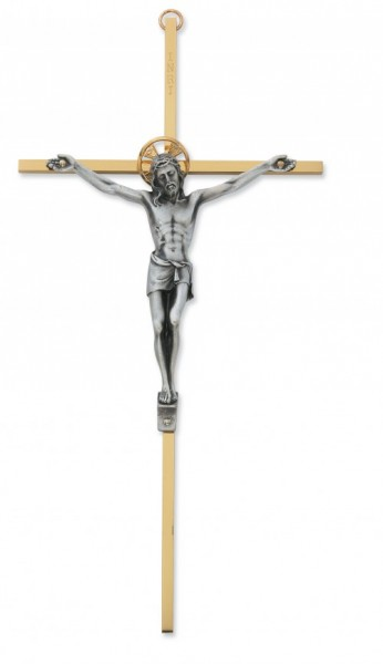 Brass Wall Crucifix 10 inch Two-Tone - Gold | Silver
