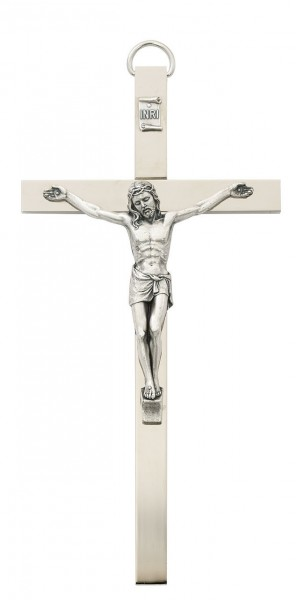 Brass Crucifix 8 inch Flat Polished - Silver