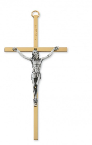 "Brass Crucifix with Silver Corpus - 6""H - Two-Tone"