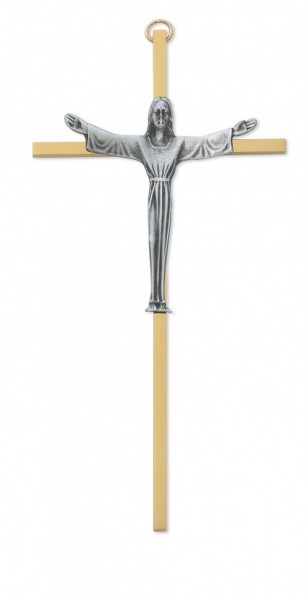 "Brass Risen Christ Crucifix - 7""H - Two-Tone"