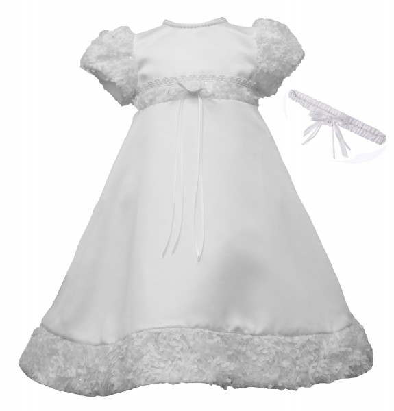 Bridal Satin Christening Gown with Soutache Trim - White
