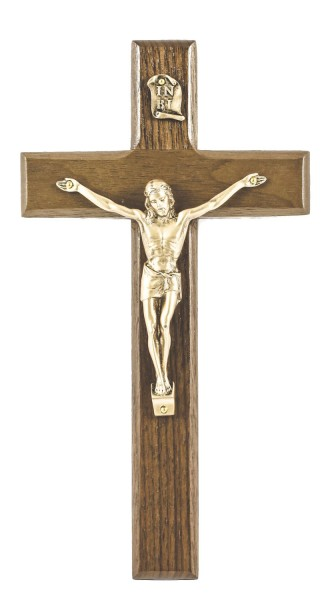 "Bright Finish Walnut Wall Crucifix with Gold Finish Corpus 8"" - Brown"