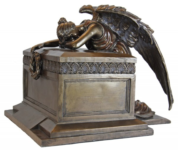 Bronze-tone Grieving Memorial Angel Monument Cremation Urn - Bronze