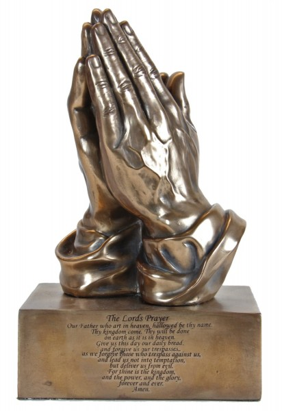 Bronze-tone Praying Hands Statue w. Lords Prayer - Bronze