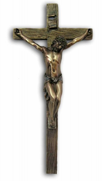 Bronzed Resin Wall Crucifix - 13 Inches - Bronze