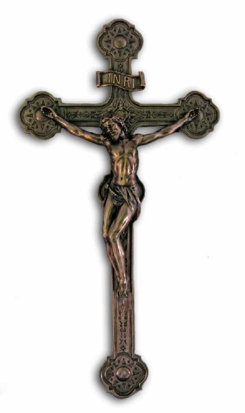 Bronzed Resin Wall Crucifix - 20 Inches - Bronze