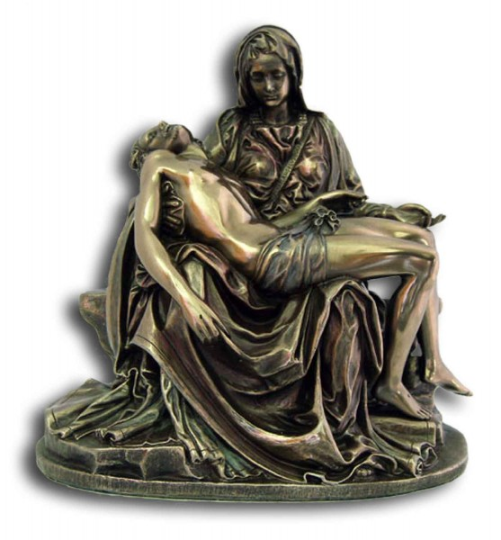 Bronzed Resin Pieta Statue - 6 1/4 Inches - Bronze