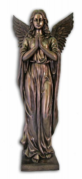 Bronzed Resin Praying Angel Statue - 38 Inches - Bronze