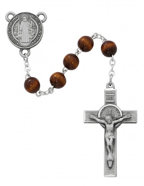 Brown Round St. Benedict Rosary - Brown