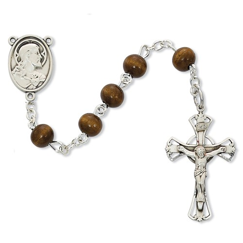 Brown Wood First Communion Sacred Heart Rosary - Sterling Silver - Brown