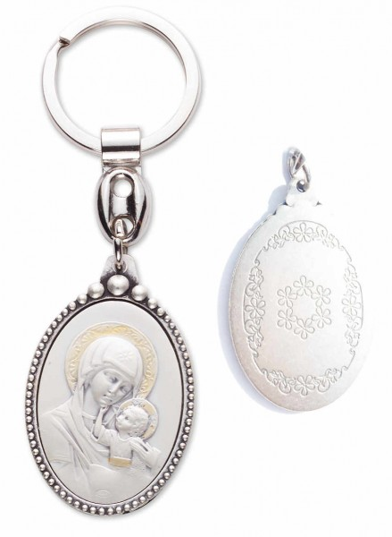 Byzantine Madonna and Child Keyring Sterling Silver - Silver tone