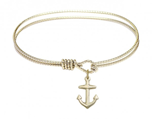 Cable Bangle Bracelet with a Anchor Charm - Gold