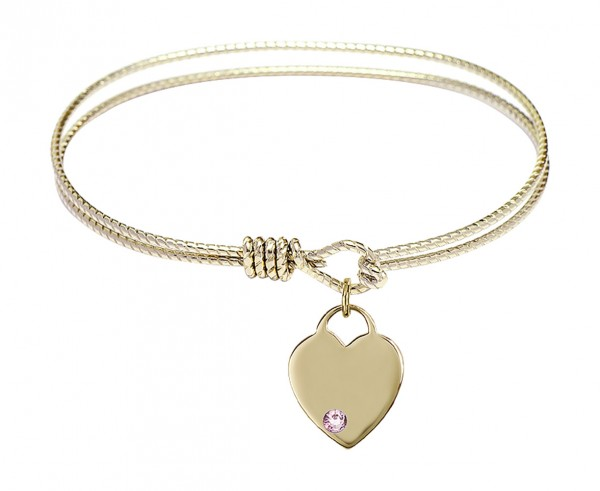 Cable Bangle Bracelet with a Birthstone Heart Charm - Light Amethyst