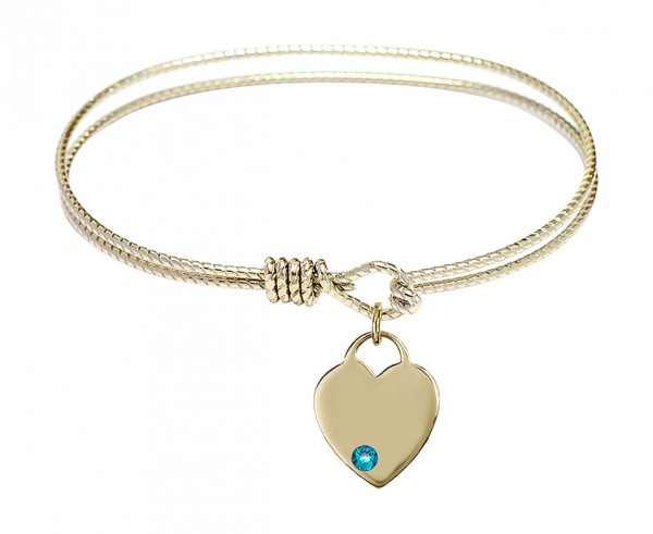 Cable Bangle Bracelet with a Birthstone Heart Charm - Zircon