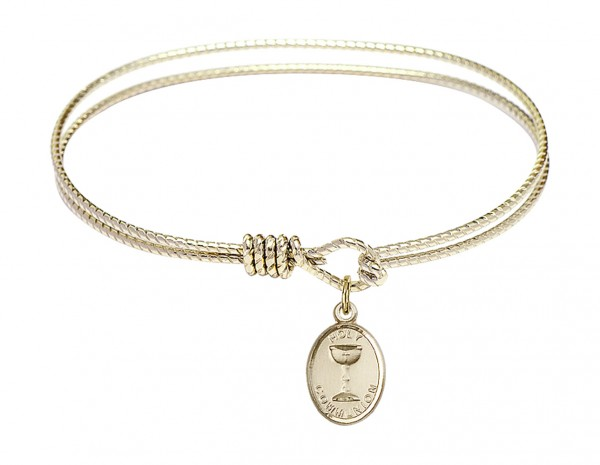 Cable Bangle Bracelet with an Oval Chalice Charm - Gold