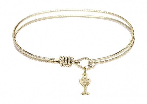 Cable Bangle Bracelet with a Chalice Charm - Gold