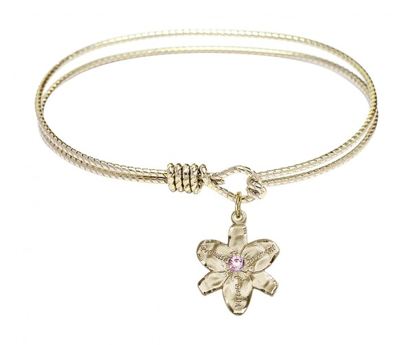 Cable Bangle Bracelet with a Chastity Charm - Light Amethyst