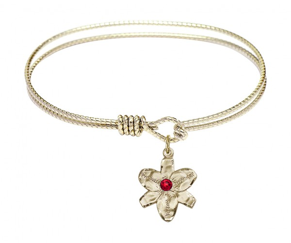 Cable Bangle Bracelet with a Chastity Charm - Ruby Red