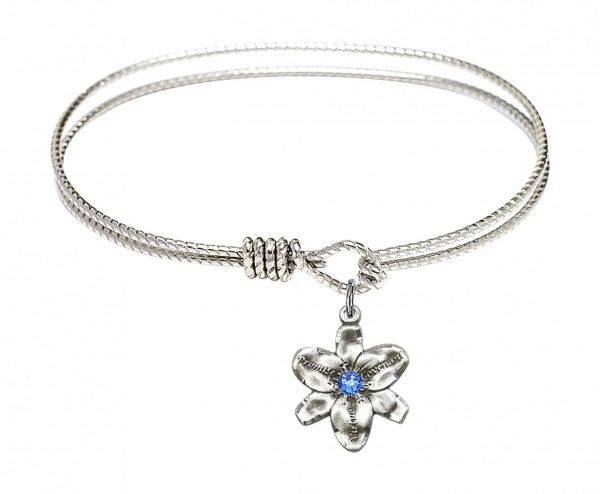 Cable Bangle Bracelet with a Chastity Charm - Sapphire
