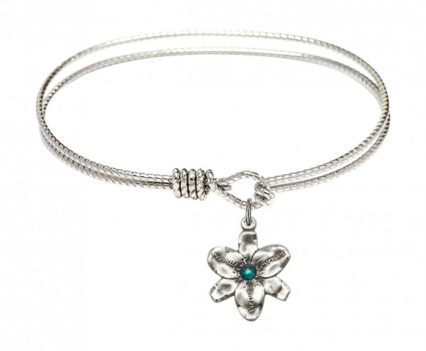 Cable Bangle Bracelet with a Chastity Charm - Emerald Green