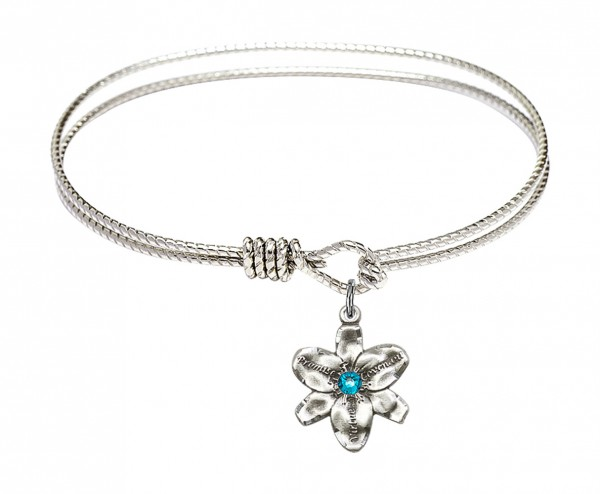 Cable Bangle Bracelet with a Chastity Charm - Zircon