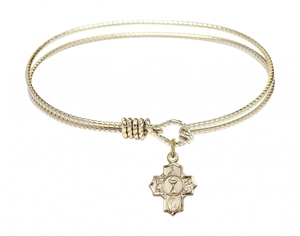 Cable Bangle Bracelet with a Communion 5-Way Charm - Gold