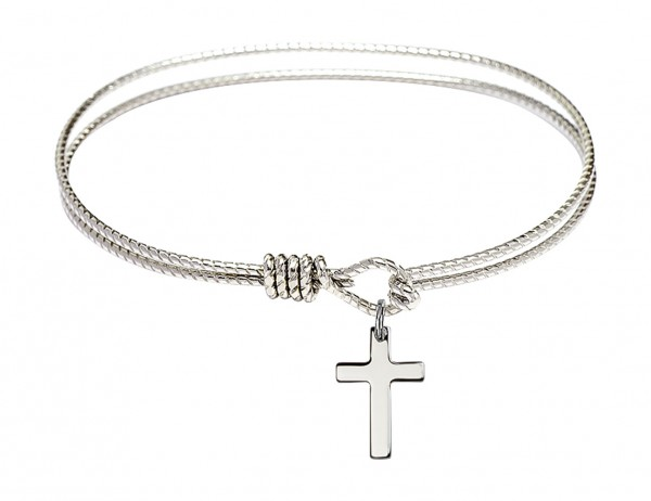 Cable Bangle Bracelet with a Cross Charm - Silver
